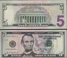 ✔ USA 5 Dollars 2013 UNC Mint San Francisco L12 ML Suffix I US Dollar Lincoln