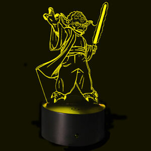 3D Illusion Night Light Yoda Stance USB 7 Color Touch Change