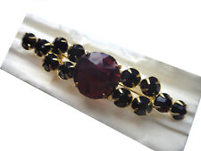 Vintage Czech pin brooch ruby red gradual faceted glass rhinestones