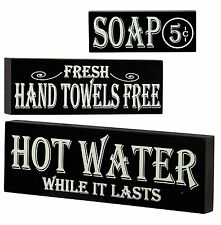 Hot Water Hand Towels Soap Lot of 3 Wood Block Signs Bath Country Vintage Look