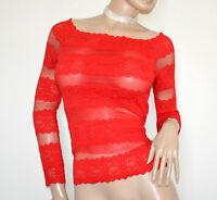 MAGLIETTA ROSSA donna maglia velata pizzo ricamata sottogiacca manica lunga G60