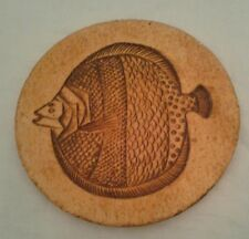 "TILE ROGER CAPRON ""Fish""  Round Tile Circa 1960s Signed"