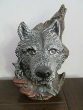 Ceramic Wolf Head Bust with two pups at neck - tree back - Wolf hiding in a tree