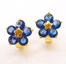 fashion1uk Hoop Earrings Simulated Diamond 24K Gold Plated Blue Flower