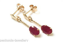 9ct Gold Ruby short Drop earrings Gift Boxed