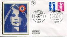 FRANCE FDC - 2716 2717 1 MARIANNE DE BRIAT - 30 Septembre 1991 - LUXE sur soie