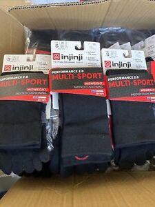 Injinji Multi-Sport Toe Crew Socks Performance 2.0 Midweight Unisex Black S 3 pk