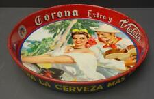 """Corona Extra Y Victoria Cerveza Beer Serving Tray 13"""" Round Mexico Modelo Vtg"""