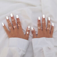 Punk Initial Letter Alphabet Mid Finger Knuckle Ring Adjustable Charms Jewelry