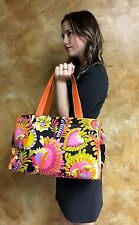 KATE SPADE NY Paisley Floral Orange Leather Weekender Travel Tote Bag