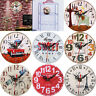 Retro Vintage Style Wooden Round Wall Clocks Home Living Room Office Decorations
