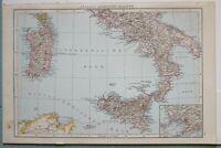 1881 Landkarte South Italien Sardinien Sizilien Neapel ROM Apulien Messina