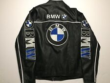 Bmw Racing/ Motorcycle Jacket Heavy Embroidery Big Logo / Spellout Leather Sz XL