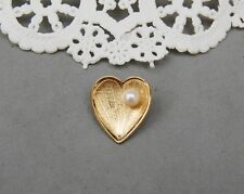 "14k Goldfill Heart Pin Genuine 4mm Pearl Petite 5/8"" June Birthstone Wells Gold"