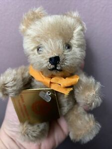 """Hermann Jointed Mohair Teddy Bear Warm Brown approximately 5"""" All ID NICE NR"""