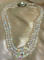 VINTAGE Triple 3 Strand Aurora Borealis Necklace Decorative Beaded Clasp #3