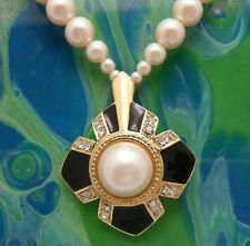 Vintage 1970s Trifari Necklace Faux Pearl Rhinestone Gold Tone Black Enamel Pend