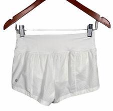 Women's LULULEMON Solid White Perforated Workout Shorts Size 2 EUC