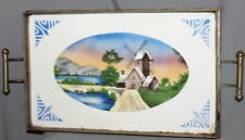 ANTIQUE CZECHOSLOVAKIAN LITHO PORCELAIN SERVING TRAY WITH METAL FACING