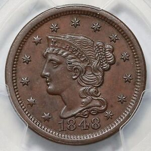 1848 N-1 PCGS MS 62 BN E-MDS Braided Hair Large Cent Coin 1c