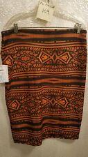 Lularoe Cassie Skirt XL NWT Rust and Black Aztec Print
