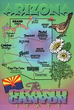Arizona, Phoenix, Tucson, Grand Canyon, Flag, Bird, etc. AZ - State Map Postcard