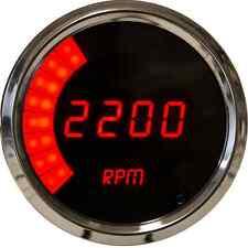 "Digital/Bargraph Memory Tachometer 3 3/8"" Red LEDs Chrome Bezel Universal"