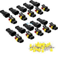 10 Kit Set Car Waterproof Electrical Wire Connector 2 Pin Way Terminals Plug