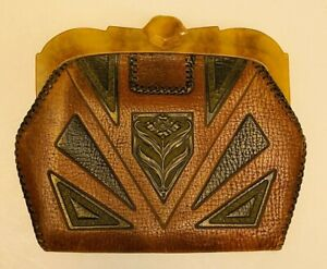 Vintage 1920s 1930s art deco tooled leather purse, handbag celluloid clasp