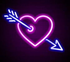 "New Cupid's Arrow Loving Love Heart Handmade Acrylic Light Lamp Neon Sign 17"""