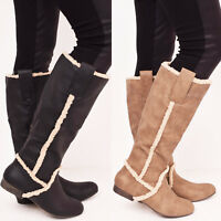 Ladies Womens Winter Fur Warm Flat Casual Walking Mid Calf Boots Shoes Size 3-8