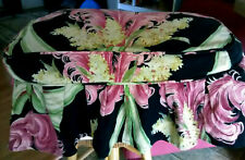 Vintage mid century nubby barkcloth cotton fabric plumes ottoman bench cover!