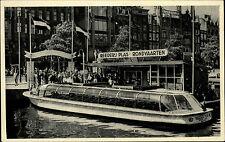 Amsterdam Niederlande s/w Ansichtskarte ~1940 /50 Rundfahrten Boot Anlegestelle