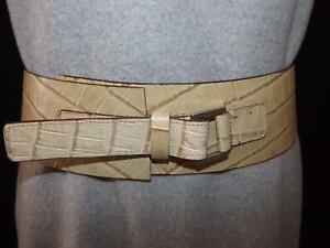 "Vintage Cream Italian Wide Leather Belt Stamped Mock Croc Adjustable 28in-32ins"""