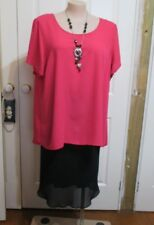ESTELLE PINK HI LO SHORT SLEEVED BLOUSE  PLUS SIZE 22