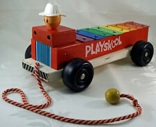 Vintage Wooden Playskool Xylophone Fire Truck Pull Along Toy