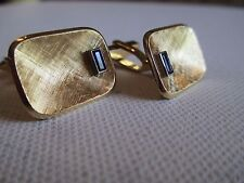 London Cuff Links 18kt Gold Genuine Baguette Sapphires Florentine Cufflinks