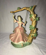 VINTAGE CERAMIC WOMAN ON SWING FROM TREE BEAUTIFUL