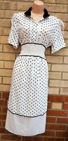 C BY CUBIC VINTAGE WHITE POLKA DOT SPOTTED RUFFLE A LINE MIDI DOLLY DRESS 14 L