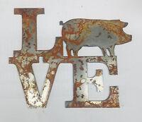 "Farm Animal Rusty Metal Wall Art Craft Stencil Sign DIY 6/"" LOVE Square Donkey"