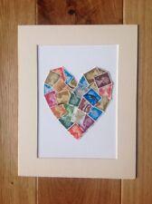 Beautiful Handmade Vintage Postage Stamp Heart