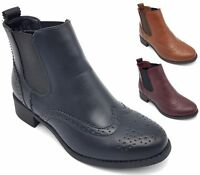 NEW WOMENS FLAT LOW HEELS CHELSEA BOOTS LADIES CLASSIC BROGUES ANKLE SHOES SIZE