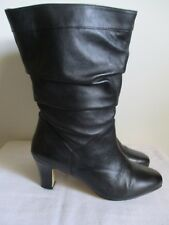 Fitzwell Slouchy Black Leather Boots Womens Side Zip Size 11 W US
