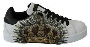 DOLCE & GABBANA Shoes Sneakers White Leather Gold Crown Mens s. EU41 / US8