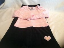 NWOT Little Lass 4T 2 Pc Pink Striped Top w/Black Velour Pants