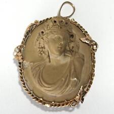 Antique Lava Cameo, in 10K Gold Pendant-Brooch Lot 169