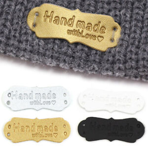 10pcs Tags Handmade With Love For Hat Jeans Bag Shoes Sewing PU Garment Label