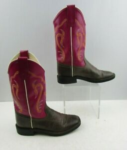 Girls Old West Pink Brown Leather Squared Toe Western Cowgirl Boots Size : 3.5