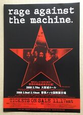 $0 ship!  RAGE AGAINST THE MACHINE Japan PROMO flyer MINI poster 2008 tour