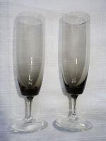 2 Vintage Rauchglas Sektgläser Sekt Glas grau 60er 70er Jahre Turmalin